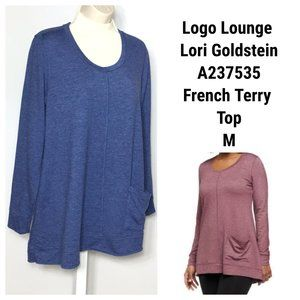 LOGO Lounge Lori Goldstein Top Tunic Terry Blue